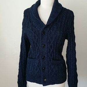 J.Crew Navy Blue Cable knit Cardigan Sz S